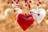 Drie harten opknoping op boom — Stockfoto