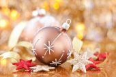 Golden ball with snowflake — Foto Stock