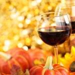 Wine, sunflowers and pumpkins. — Stock Photo #53222903
