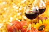 Wine, sunflowers and pumpkins. — Stock Photo