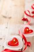 Heart shaped candles .  — Stok fotoğraf