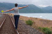 Walking on train tracks — Stock Photo