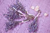 Sprigs of lavender lavender knit canvas — Stock Photo