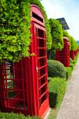 Red phone booth in the park — Stock Photo
