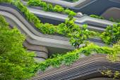 Modern terraces with greenery and trees — Stock Photo