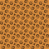 Abstract seamless orange pattern with black spirals — Stock Vector