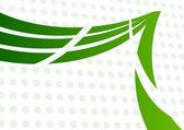 Simbolo astratto verde curvo su fondo morbido con verde chiaro — Vettoriale Stock