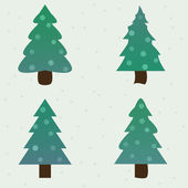 Green blue spruce decorated new year fir-trees collection set — Stockvektor