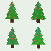 Green spruce decorated new year fir-trees collection set — Wektor stockowy