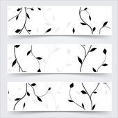 Black and white header footer branches leaves banner set — Stock Vector