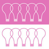 Schematic white lightbulb shapes on pink background and vice ver — Stock Vector