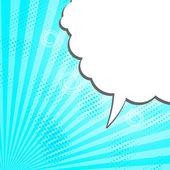Acid light blue comic pop-art speech bubble random dots sun rays — Stock Vector