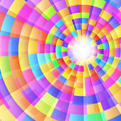 Colorful bright kaleidoscope with concentric circles and light r — Stock Vector