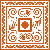 Tribal ornament background with squares ans spiral swirls — Stock Vector