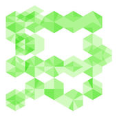 Abstract geometrical background with bright green sharp hexagon  — Stockvector