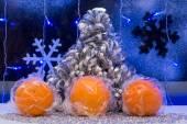 Christmas tree, tangerine and decoration. wallpaper. — Stock Photo
