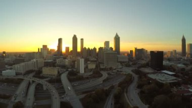 Atlanta aerial flying in place — Stock Video