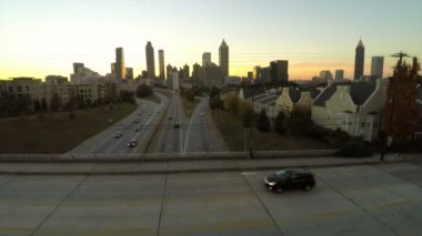 Atlanta aerial flying over Freedom Parkway — Stock Video