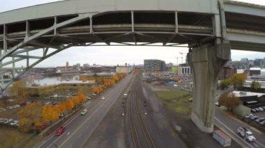 Portland aerial under Fremont bridge — Stock Video