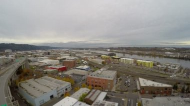 Portland aerial of industrial area — Stock Video
