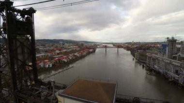 Portland aerial closely over Steel bridge. — Stock Video