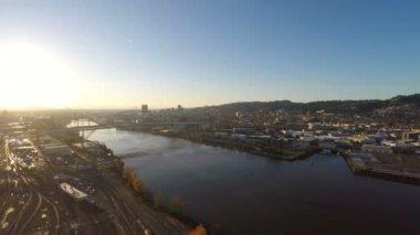 Portland aerial of Fremont bridge — Stock Video
