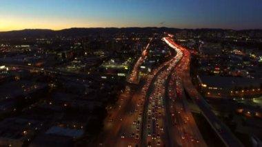 Freeway Interchange at Dusk — Stock Video