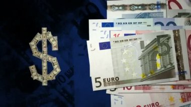 Dollar and Euro notes — Stock Video