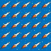 Seamless Childish Rockets in Space — Stock Vector
