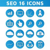 Blue SEO Business Icons Set — Stock Vector