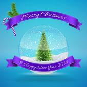 Стеклянный шар снега с рождественским деревом — Cтоковый вектор