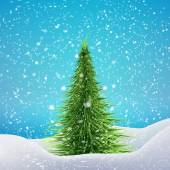 Christmas Tree with snowfall and drifts. — Stock Vector