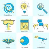Icons Set of Science Processes — Stock Vector