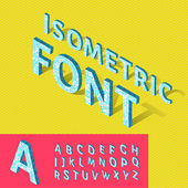 Isometric alphabet and grid — Stock Vector