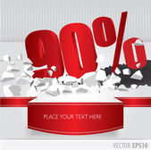 Red 90 percent discount on vector cracked ground on white backgr — Stock Vector