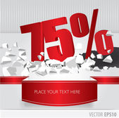 Red 75 percent discount on vector cracked ground on white backgr — Stock Vector