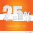 Orange background and with a discount of 25 percent — Stock Vector #63917987