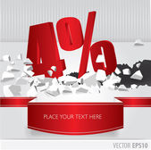 Red 4 percent discount on vector cracked ground on white backgro — Stock Vector