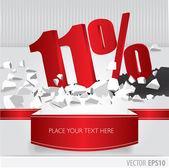 красная 11-процентная скидка на вектор взломала землю на белом backgr — Cтоковый вектор