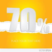 Yellow background and with a discount of 70 percent — Stock Vector