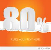 Orange background and with a discount of 80 percent — Stock Vector