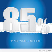 Blue background and with a discount of 85 percent — Stock Vector