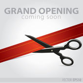Shop grand opening - cutting red ribbon — Stock Vector