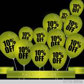 Green balloons With Sale Discounts 10 percent. — Stock Vector