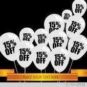 White balloons With Sale Discounts 15 percent. — Stock Vector