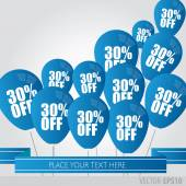 Blue balloons With Sale Discounts 30 percent. — Stock Vector