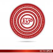 Big Sale tags with Sale 35 percent text on circle tags — Stock Vector