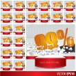 Gold collection discount  5  10 15 20 25 30 35 40 45 50 55 60 65 — Stock Vector #65310281