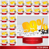 Yellow collection discount  5  10 15 20 25 30 35 40 45 50 55 60  — Stock Vector
