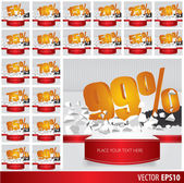 Gold collection discount  5  10 15 20 25 30 35 40 45 50 55 60 65 — Stock Vector